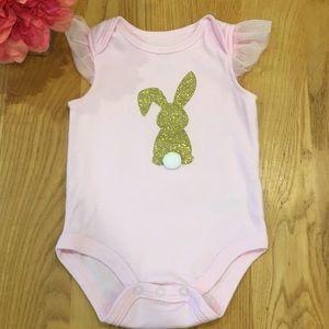 Baby Essentials Pink Gold Bunny Onesie 6 Months